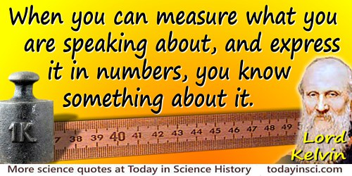 William Thomson Kelvin quote Measure � and express in numbers