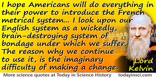 William Thomson Kelvin quote Imaginary difficulty of making a change