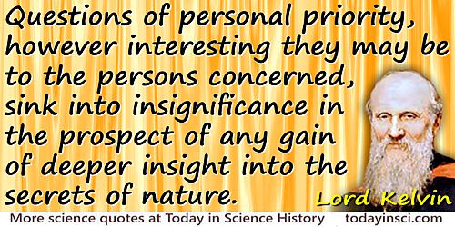 William Thomson Kelvin quote Questions of personal priority