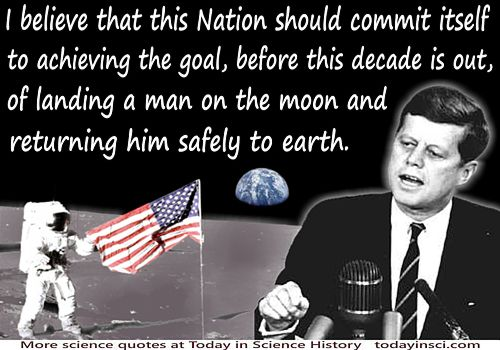 "John Kennedy quote ""the goal…of landing a man on the moon"" illustrated on moonscape background + JFK at podium"