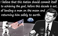 John Kennedy quote �the goal�of landing a man on the moon� illustrated on moonscape background + JFK at podium