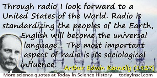 Arthur Edwin Kennelly quote Through radio I look forward to a United States of the World