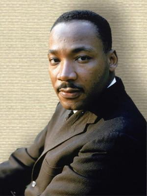 Photo of Martin Luther King, head and shoulders, facing forward.