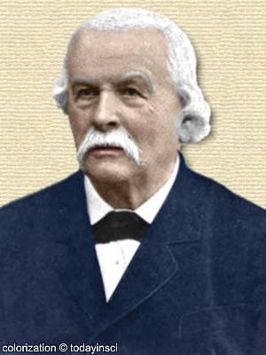 Photo of Rudolph von Kölliker - head and shoulders. Colorization © todayinsci.com