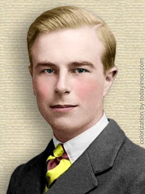 Photo of David Lack, young, head and shoulders, facing front. Colorization © todayinsci.com