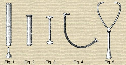 % diagrams of different stethoscope designs, 3 cylindrical with varied ends, 1 with flexible tube, 1 binaural with two eartubes