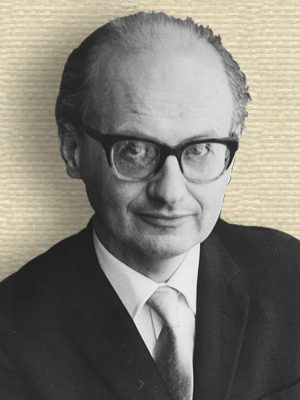 Photo of Imre Lakatos, head and shoulders, facing front, wearing spectacles