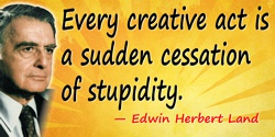 Edwin Herbert Land quote: Every creative act is a sudden cessation of stupidity.