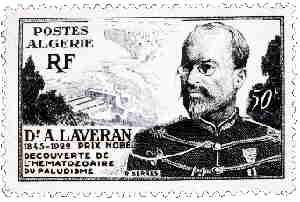 Photo of stamp issued by Algeria (4 Jan 1953) showing Nobel Prize winner, Alphonse Laveran
