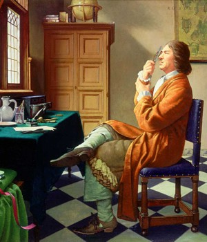 Painting of Antonie van Leeuwenhoek, seated in front of a window, holding his microscope up to his eye to view animalcules.