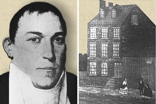 Photo of Samuel Leggett - head and shoulders & sketch of his house.