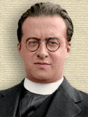 Photo of Georges Lemaître, in cleric suit, upper body, facing forward. Colorization by todayinsci.com