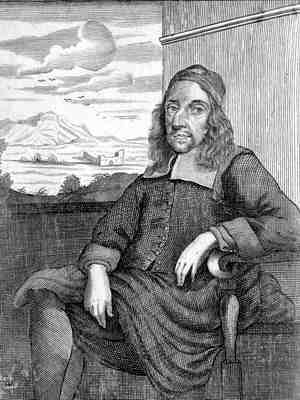 Engraving of William Leybourn, seated in front of window view of landscape, 3/4 body facing left. Frontispiece from Panorganon.