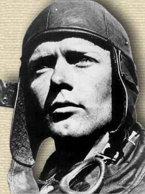 Photo of Charles Lindbergh wearing leather pilot's cap, head, facing left.