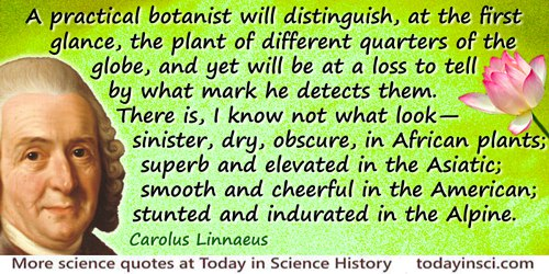 Carolus Linnaeus quote: A practical botanist will distinguish, at the first glance, the plant of different quarters of the globe