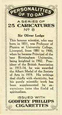 Reverse of card with text about Sir Oliver Lodge