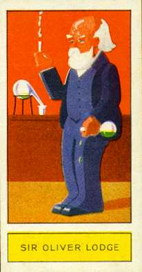 Caricature white-haired, white bearded scientist, 3-piece suit, lab bench with retort background. flask in hand spilling liquid.