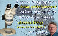 Jack Longino quote �Home entertainment � a good dissecting microscope� on background microphotograph of fly wings + Longino face