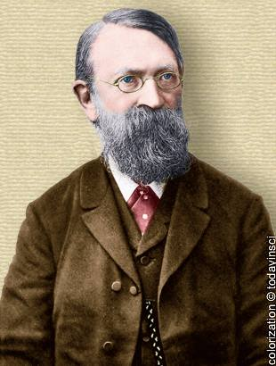 Photo of Ernst Mach, head and shoulders, facing half right. Colorization © todayinsci.com