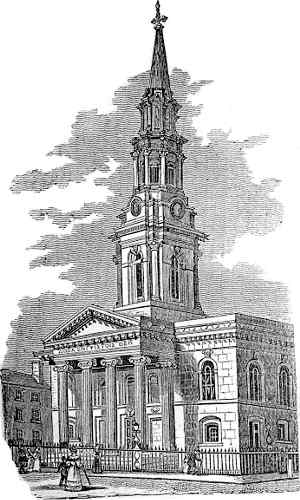Engraving of St. George's Church, Dublin, from Dublin Penny Journal (1833)