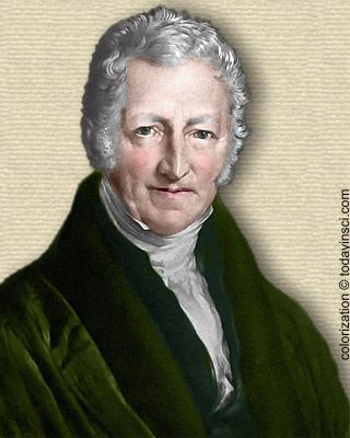 Engraving of Thomas Robert Malthus - head and shoulders. Colorization © todainsci.com