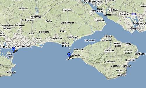 Marconi's stations located on a map of Isle of White and Bournemouth