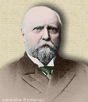 Photo of Othniel Marsh, head and shoulder. Colorization © todayinsci.com