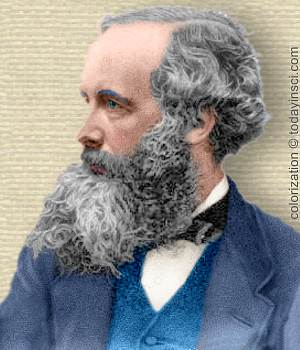 Engraving of James Clerk Maxwell, head and shoulders, facing left. Colorization © todayinsci.com