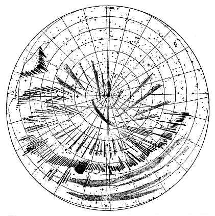 Polar Projection showing position of Aurora Borealis of 6 Jan 1893