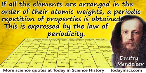 Dmitry Ivanovich Mendeleev quote: If all the elements are arranged in the order of their atomic weights, a periodic repetition o