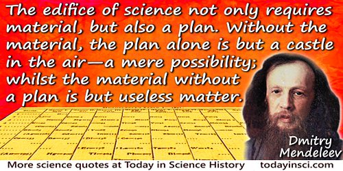 Dmitry Ivanovich Mendeleev quote: The edifice of science not only requires material, but also a plan. Without the material,
