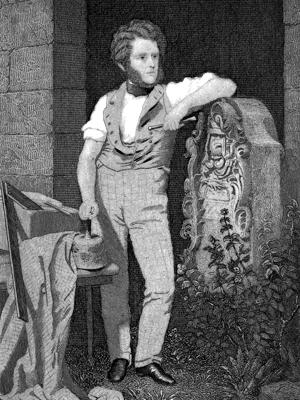 Engraving of Hugh Miller standing with stone mason's tools and slab being carved