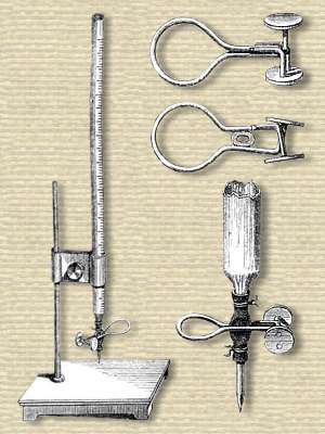 Engraving of vertical graduated glass burette tube, open top, narrowed bottom fitted to a short rubber tube with a hose clamp