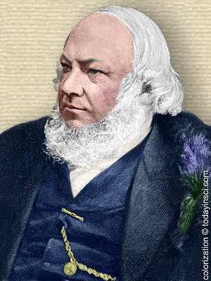 Engraving of Jacob Moleschott, head and shoulders facing left. Colorization © todayinsci.com