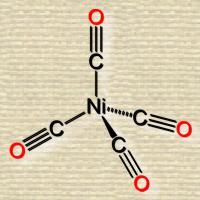 Molecular diagram a central nickel atom has 4 tetrahedrally spaced bonds, each to a carbon triple bonded to an oxygen atom