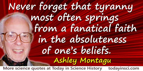 Ashley Montagu quote: Never forget that tyranny most often springs from a fanatical faith in the absoluteness of one's beliefs.