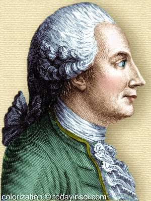 Engraving of Joseph-Michel Montgolfier - side view, head and shoulders - colorization © todayinsci.com