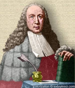 Engraving of Giovanni Battista Morgani upper body facing front, behind table, hand on book. Colorization © todayinsci.com
