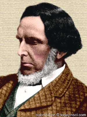 Drawing of Robert Mushet, bearded, image cropped to only the head, facing left. Colorization © todayinsci.com