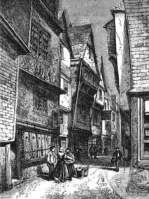 Engraving of Newcomen's home, Dartmouth. On narrow street, picturesque ancient timbered house, overhanging peaked gable end