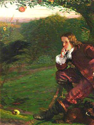 Painting of young Isaac Newton seated on bench under apple tree contemplating apple on ground in front of him