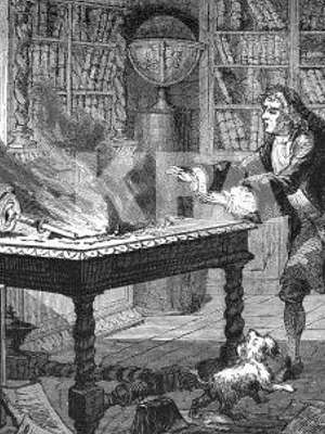 Engraving of Isaac Newton rushing to his desk where his papers are on fire from an overturned candle. Dog at his feet.