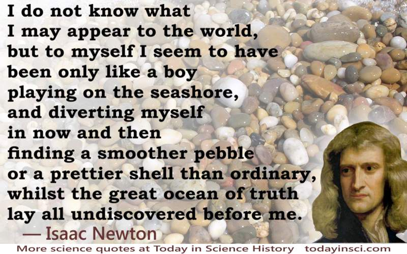 "Isaac Newton - ""Playing on the Seashore"" illustrated quote"