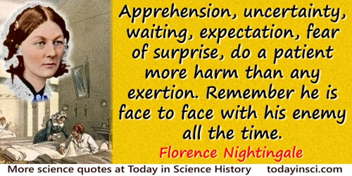 Florence Nightingale quote: Apprehension, uncertainty, waiting, expectation, fear of surprise, do a patient more harm than any e