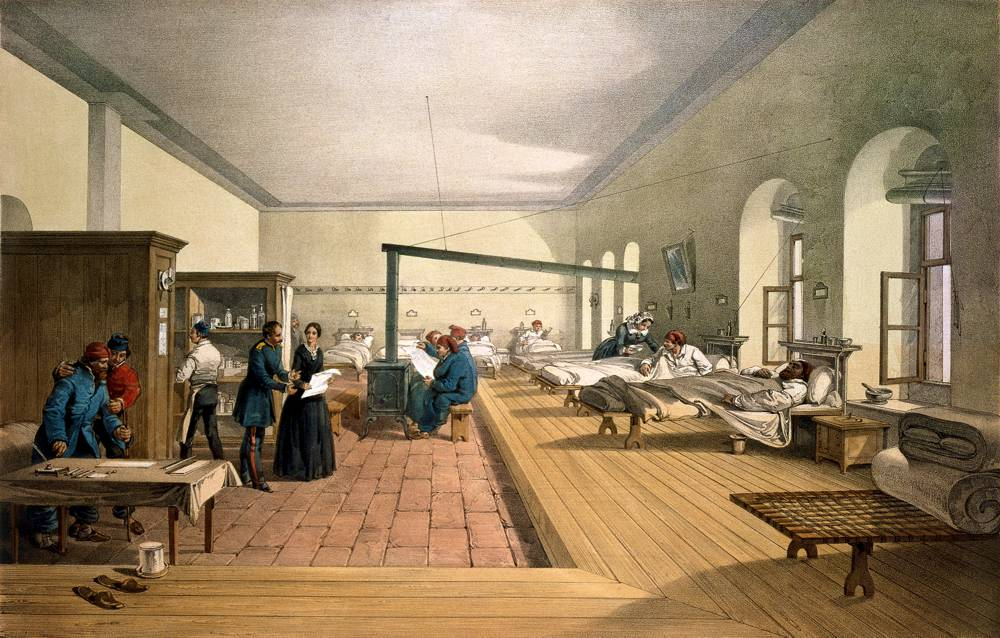 Detail from 1856 lithograph of one of the wards of the hospital at Scutari.