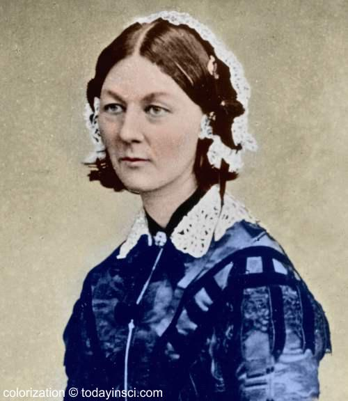Florence Nightingale - head and shoulders photo colored