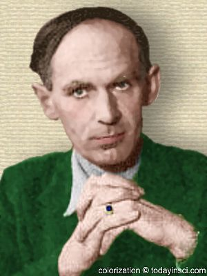 Photo of Kenneth Oakley - head and shoulders - colorization © todayinsci.com
