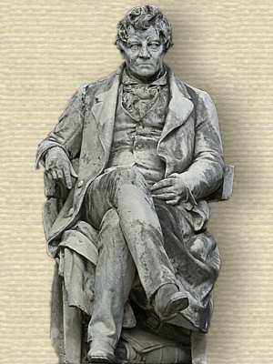 Photo of statue of George Simon Ohm, seated, full body, facing forward