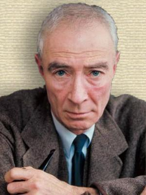 Photo of Robert Oppenheimer, upper body, facing front