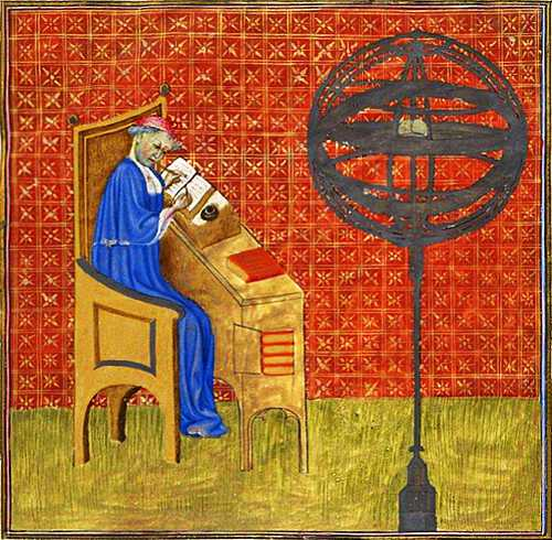 Color illustration showing Nicole Oresme work at a desk in his study. An armillary sphere on a tall stand is shown in the room.